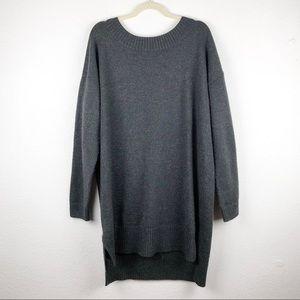 Gap Long Gray w/Gold Metallic Thread Sweater Dress